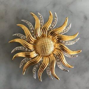 Vintage KJL Silver Gold Crystal Day Night Brooch